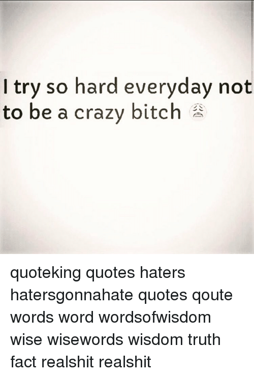 I Try So Hard Everyday Not To Be A Crazy Bitch Quoteking Quotes