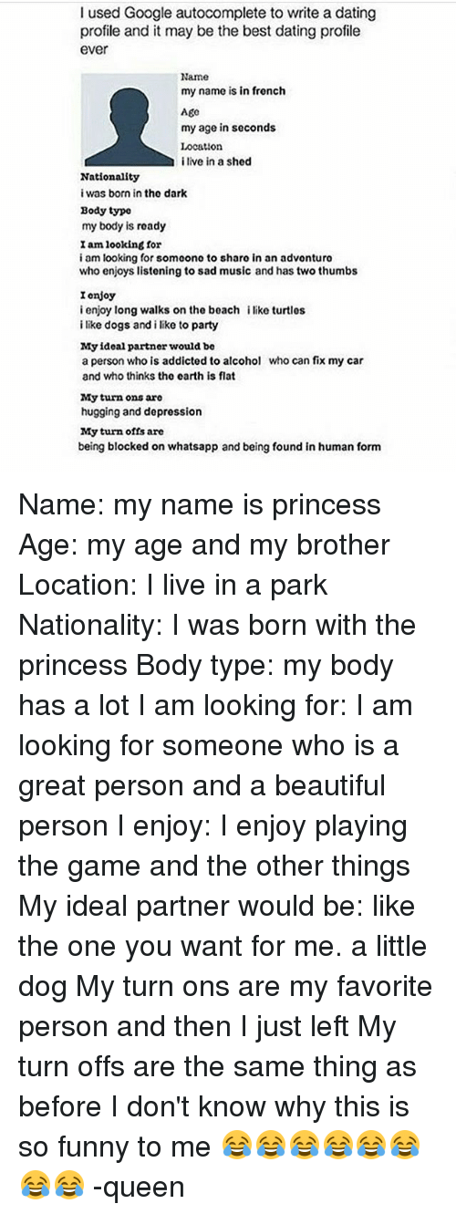 Funny things to put on a dating profile