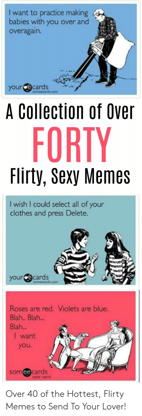 Clothes, Memes, and Sexy: I want to practice making  babies with you over and  overagain.  your ecards  A Collection of Over  FORTY  Flirty, Sexy Memes  I wish I could select all of your  clothes and press Delete.  your @cards  Roses are red. Violets are blue.  Blah.. Blah..  Blah...  I want  you  someecards  user card Over 40 of the Hottest, Flirty Memes to Send To Your Lover!
