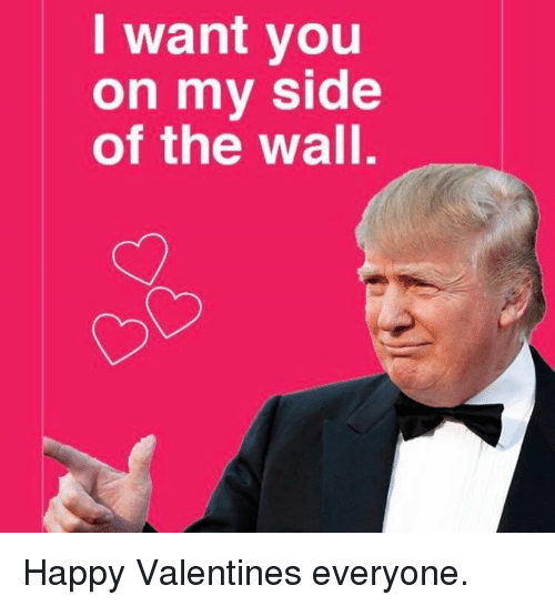 Happy, The Wall, and You: I want you  on mv side  of the wall. Happy Valentines everyone.