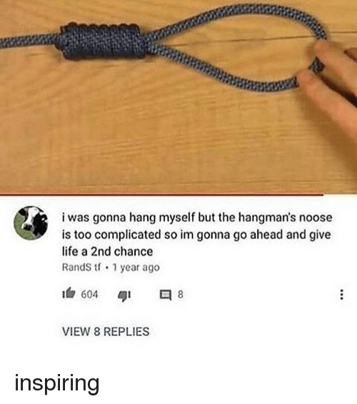 Life, Memes, and 🤖: i was gonna hang myself but the hangman's noose  is too complicated so im gonna go ahead and give  life a 2nd chance  RandS tf 1 year ago  1白604  タ1  8  VIEW 8 REPLIES inspiring