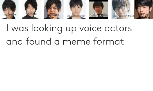 Funny, Meme, and Voice: I was looking up voice actors and found a meme format