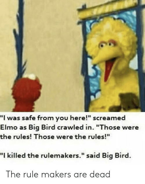 I Was Safe From You Here Screamed Elmo As Big Bird Crawled