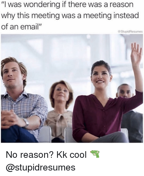 "Cool, Email, and Girl Memes: ""I was wondering if there was a reason  why this meeting was a meeting instead  of an email""  StupidResumes No reason? Kk cool 🔫 @stupidresumes"
