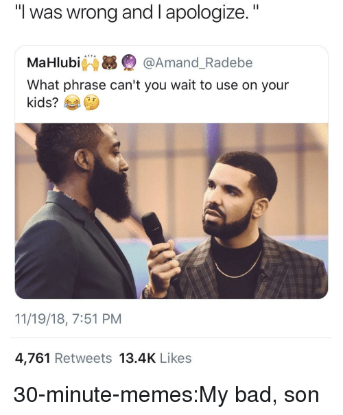 """Bad, Memes, and Target: """"I was wrong and I apologize.""""  MaHlubi Q @Amand_Radebe  What phrase can't you wait to use on your  kids?  11/19/18, 7:51 PM  4,761 Retweets 13.4K Likes 30-minute-memes:My bad, son"""