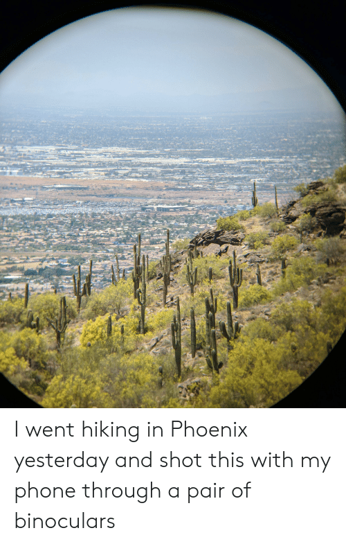 Phone, Phoenix, and Binoculars: I went hiking in Phoenix yesterday and shot this with my phone through a pair of binoculars