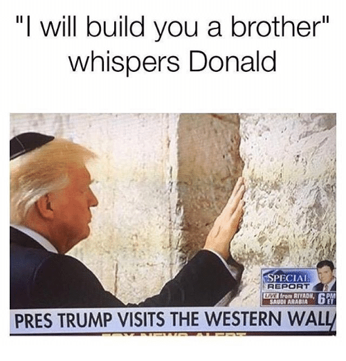 """Memes, Live, and Saudi Arabia: """"I will build you a brother""""  whispers Donald  PECIAL  LIVE from RIYADH, DP  SAUDI ARABIA  PRES TRUMP VISITS THE WESTERN WAL"""