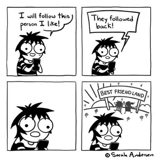 Memes, Best, and Back: I will follow this  They followed  back!  person I like!  BEST FRIENDLAND  oSarah Andersen