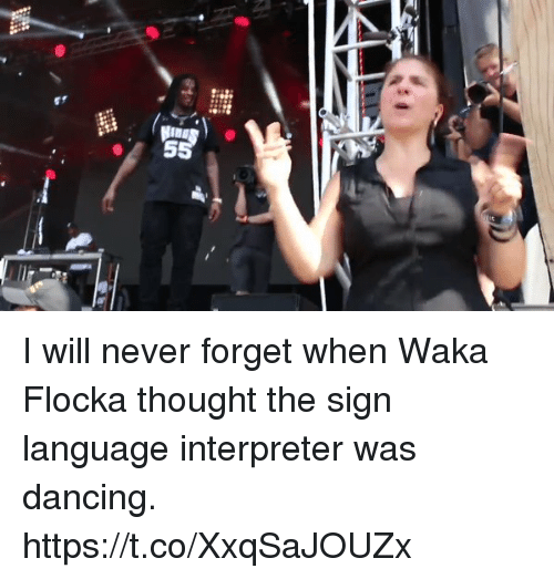 Dancing, Memes, and Waka Flocka: I will never forget when Waka Flocka thought the sign language interpreter was dancing. https://t.co/XxqSaJOUZx
