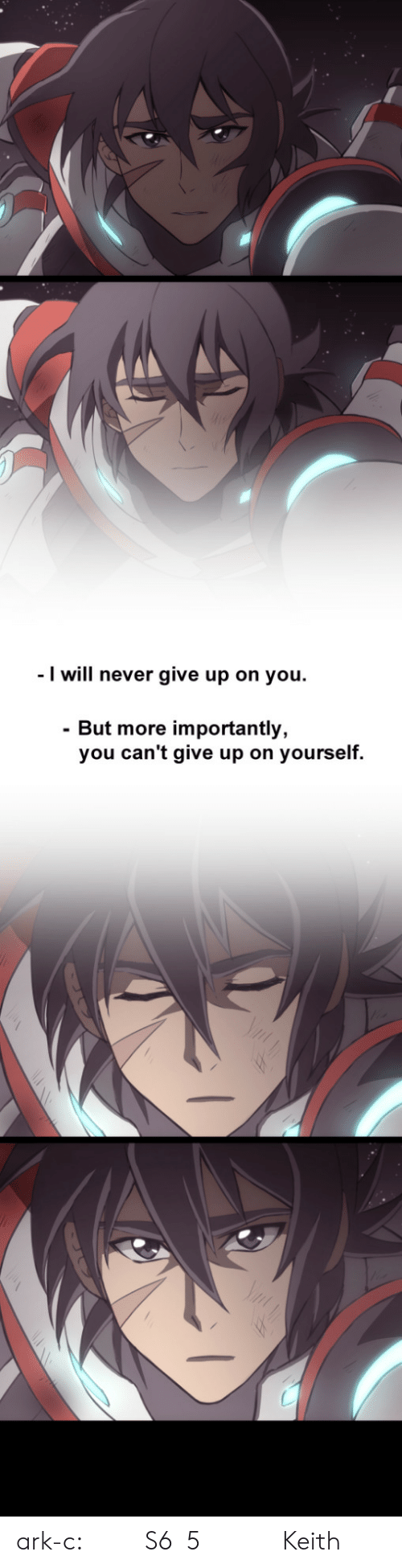 Target, Tumblr, and Blog: I will never give up on you.  - But more importantly,  you can't give up on yourself. ark-c: 我很喜歡S6第5話後面片段,Keith的表情令人印象深刻,想把他的神情與感覺畫出來。