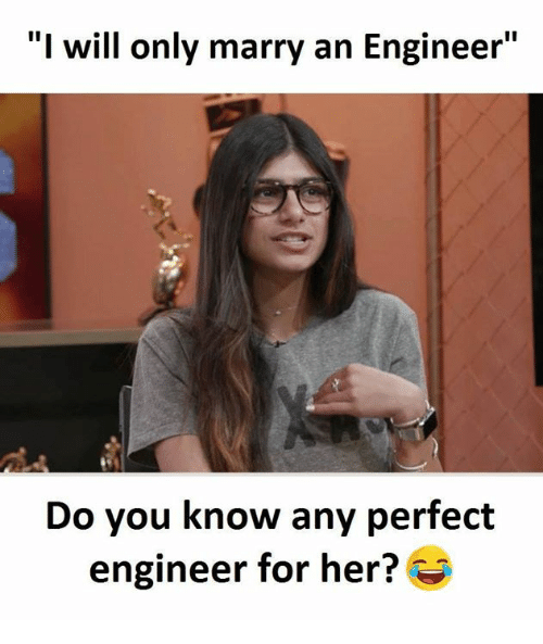 """Memes, 🤖, and Her: """"I will only marry an Engineer""""  Do you know any perfect  engineer for her?"""
