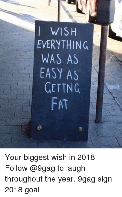 9gag, Memes, and Goal: I WISH  EVERYTHING  WAS AS  EASY AS  GETTNG  FAT Your biggest wish in 2018. Follow @9gag to laugh throughout the year. 9gag sign 2018 goal