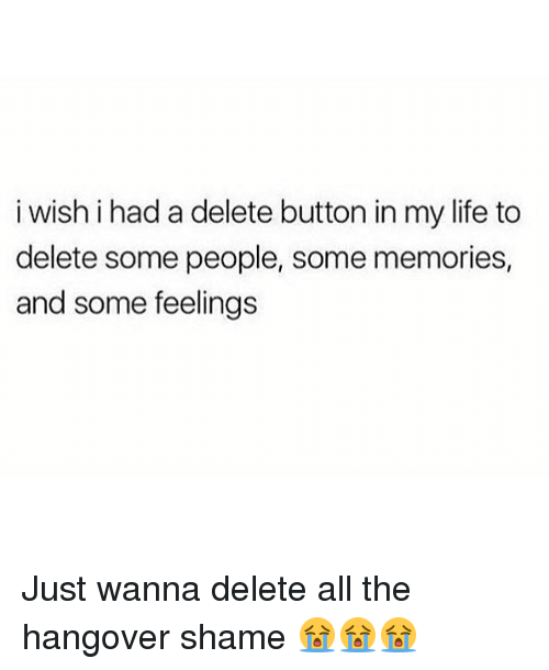 Life, Memes, and The Hangover: i wish i had a delete button in my life to  delete some people, some memories,  and some feelings Just wanna delete all the hangover shame 😭😭😭