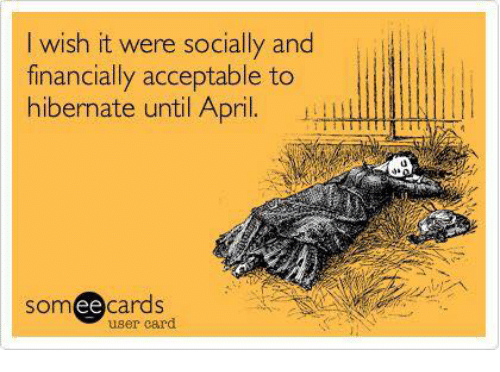 Memes, April, and 🤖: I wish it were socially and  financially acceptable to  hibernate until April.  Som ee  cards  user card.