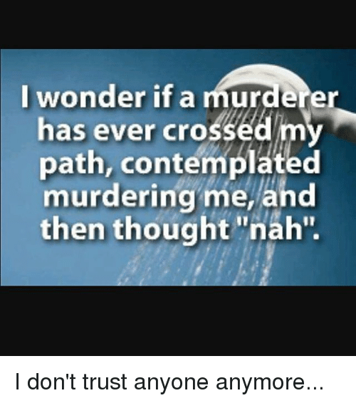 I Wonder If A Murderer Has Ever Crosse Path Contemplated Murdering