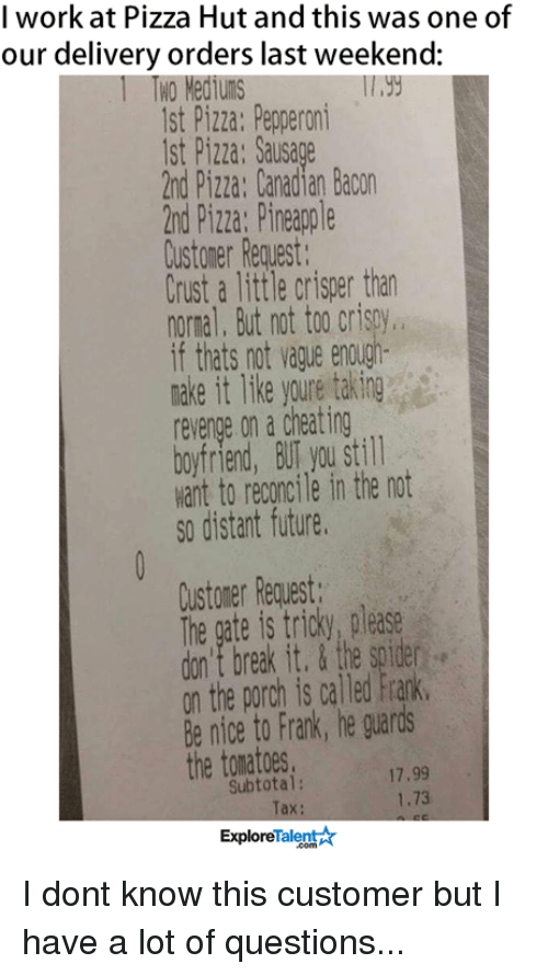 I Work at Pizza Hut and This Was One of Our Delivery Orders