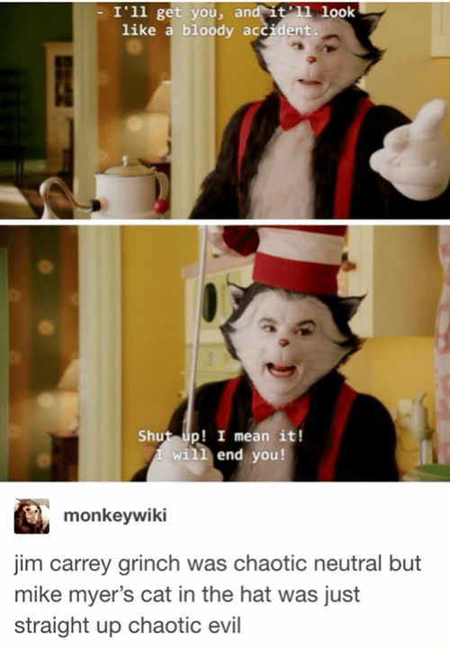 Funny, The Grinch, and Jim Carrey: - I'1l get you, and it look  like a bloody accident  Shut up! I mean it!  will end you!  monkeywiki  jim carrey grinch was chaotic neutral but  mike myer's cat in the hat was just  straight up chaotic evil