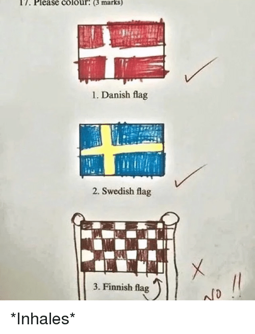 Swedish Danish And Finnish I7 Please Colour 3 Marks