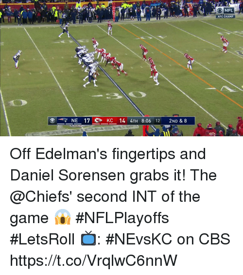 Memes, The Game, and Cbs: IA  AFC CHAMP  NE 170, KC 14 4TH 8:06 12 2ND & 8 Off Edelman's fingertips and Daniel Sorensen grabs it!  The @Chiefs' second INT of the game 😱 #NFLPlayoffs #LetsRoll  📺: #NEvsKC on CBS https://t.co/VrqlwC6nnW