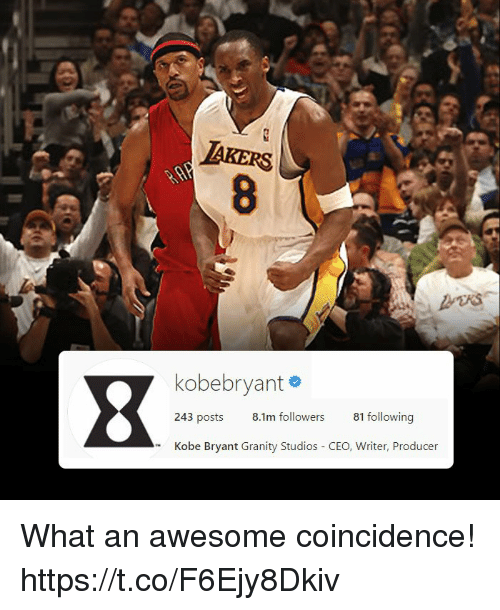 Kobe Bryant, Memes, and Kobe: IAKERS  kobebryant #  243 posts  8.1m followers  81 following  Kobe Bryant Granity Studios CEO, Writer, Producer What an awesome coincidence! https://t.co/F6Ejy8Dkiv