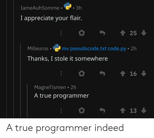 True, Appreciate, and Indeed: IameAuhSomme  3h  I appreciate your flair.  25  Milleuros mv pseudocode.txt code.py 2h  Thanks, I stole it somewhere  MagneTismen 2h  A true programmer A true programmer indeed