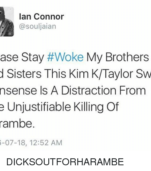 Dank Memes, Kim K, and Kim: Ian Connor  @souljaian  ase Stay  #Woke My Brothers  d Sisters This Kim K/Taylor Sw  nsense Is A Distraction From  e Unjustifiable Killing Of  rambe.  6-07-18, 12:52 AM DICKSOUTFORHARAMBE