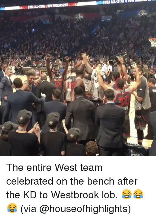 Basketball, Golden State Warriors, and Sports: IBA STAR tiny  ALL The entire West team celebrated on the bench after the KD to Westbrook lob. 😂😂😂 (via @houseofhighlights)