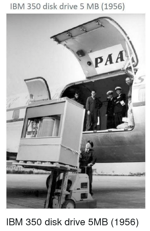 IBM 5 MB hard drive 1956