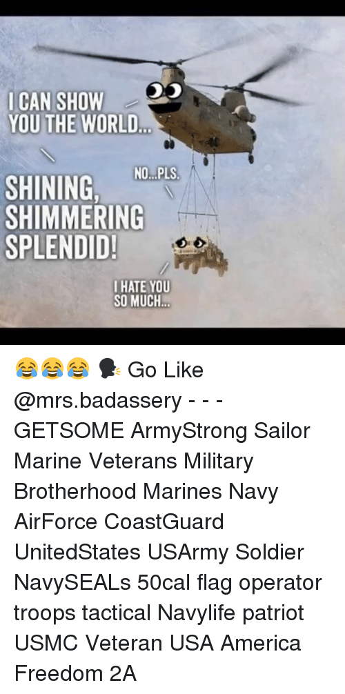 America, Memes, and Marines: ICAN SHOW  YOU THE WORLD  SHINING NO.PLS  SHIMMERING  SPLENDID!  IHATE YOU  SO MUCH 😂😂😂 🗣 Go Like @mrs.badassery - - - GETSOME ArmyStrong Sailor Marine Veterans Military Brotherhood Marines Navy AirForce CoastGuard UnitedStates USArmy Soldier NavySEALs 50cal flag operator troops tactical Navylife patriot USMC Veteran USA America Freedom 2A