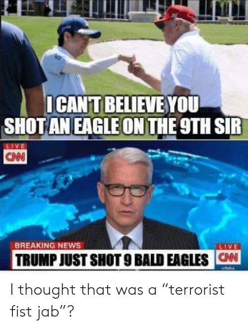 "Philadelphia Eagles, News, and Breaking News: ICANT BELIEVE YOU  SHOT AN EAGLE ON THE 9TH SIR  LIVE  CAN  BREAKING NEWS  LIVE  TRUMP JUST SHOT 9 BALD EAGLES CAN  trfudra I thought that was a ""terrorist fist jab""?"