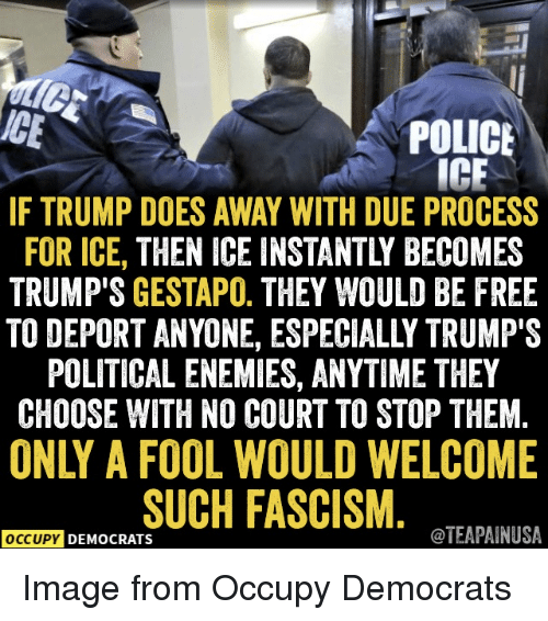 Police, Free, and Image: ICE  POLICE  IC  IF TRUMP DOES AWAY WITH DUE PROCESS  FOR ICE, THEN ICE INSTANTLY BECOMES  TRUMP'S GESTAPO. THEY WOULD BE FREE  TO DEPORT ANYONE, ESPECIALLY TRUMP'S  POLITICAL ENEMIES, ANYTIME THEY  CHOOSE WITH NO COURT TO STOP THEM  ONLY A FOOL WOULD WELCOME  SUCH FASCISM  OCCUPY DEMOCRATS  TEAPAINUSA Image from Occupy Democrats
