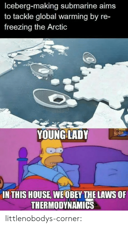 Global Warming, Tumblr, and Blog: Iceberg-making submarine aims  to tackle global warming by re-  freezing the Arctic  YOUNG LADY  IN THIS HOUSE, WE OBEY THE LAWS OF  THERMODYNAMICS littlenobodys-corner: