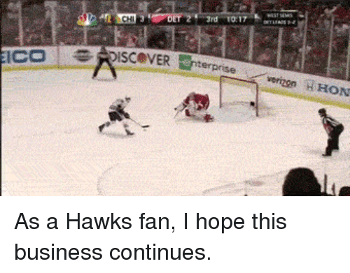 National Hockey League (NHL), Verizon, and Business: ICO  3rd 17  SISCeNER verizon HHON As a Hawks fan, I hope this business continues.