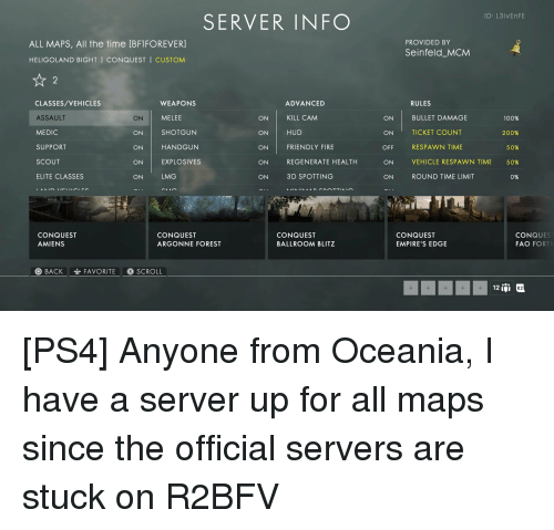 ID L3İVEnFE SERVER INFO ALL MAPS All the Time BFIFOREVER