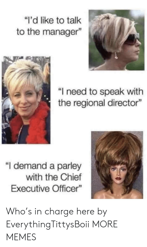 """Dank, Memes, and Target: """"i'd like to talk  to the manager""""  """"I need to speak with  the regional director""""  """"I demand a parley  with the Chief  Executive Officer Who's in charge here by EverythingTittysBoii MORE MEMES"""