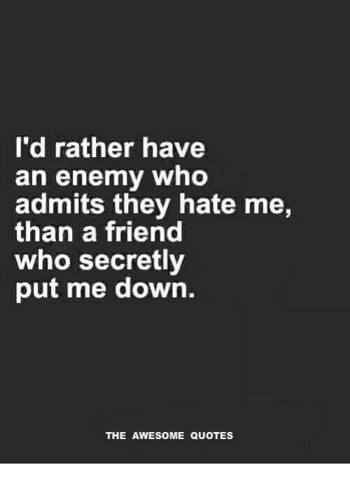 Id Rather Have An Enemy Who Admits They Hate Me Than A Friend Who
