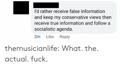 Target, True, and Tumblr: I'd rather receive false information  and keep my conservative views then  receive true information and follow a  socialistic agenda.  2m  Like  Reply themusicianlife:  What. the. actual. fuck.