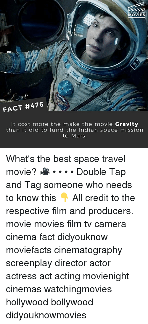 Memes, Movies, and Best: ID YOU KNOW  MOVIES  FACT #476  It cost more the make the movie Gravity  than it did to fund the Indian space mission  to Mars. What's the best space travel movie? 🎥 • • • • Double Tap and Tag someone who needs to know this 👇 All credit to the respective film and producers. movie movies film tv camera cinema fact didyouknow moviefacts cinematography screenplay director actor actress act acting movienight cinemas watchingmovies hollywood bollywood didyouknowmovies