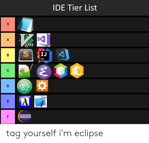IDE Tier List Rnn IJ Tag Yourself I'm Eclipse | Eclipse Meme