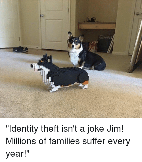 """Funny, Suffering, and Identity Theft: """"Identity theft isn't a joke Jim! Millions of families suffer every year!"""""""
