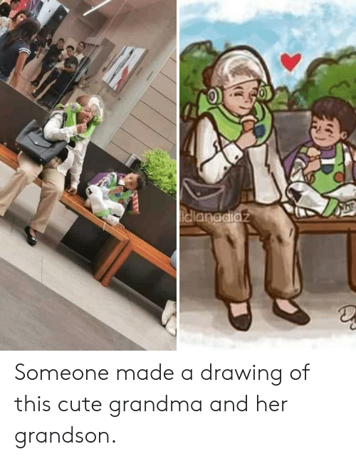 Cute, Grandma, and Her: idlanddiaz Someone made a drawing of this cute grandma and her grandson.