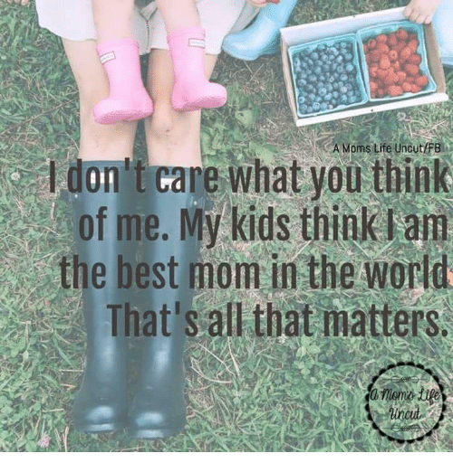 Memes, Moms, and Best: Idon t care what A Moms think  of me. My kids think am  the best mom in the World  That's allthat matters.