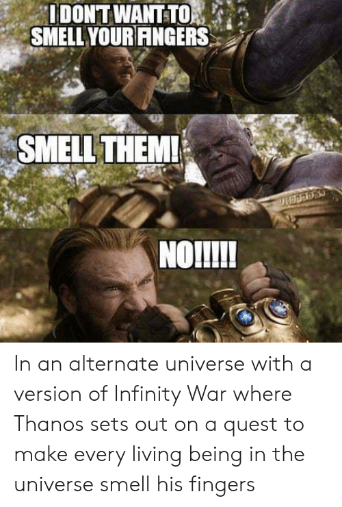 Smell, Infinity, and Quest: IDONT WANTTO  SMELL YOURANGERS  SMELL THEM!  NOlI! In an alternate universe with a version of Infinity War where Thanos sets out on a quest to make every living being in the universe smell his fingers