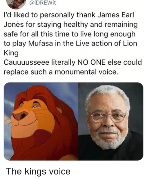 Mufasa, Lion, and Lion King: @iDREWit  l'd liked to personally thank James Earl  Jones for staying healthy and remaining  safe for all this time to live long enough  to play Mufasa in the Live action of Lion  King  Cauuuusseee literally NO ONE else could  replace such a monumental voice. The kings voice