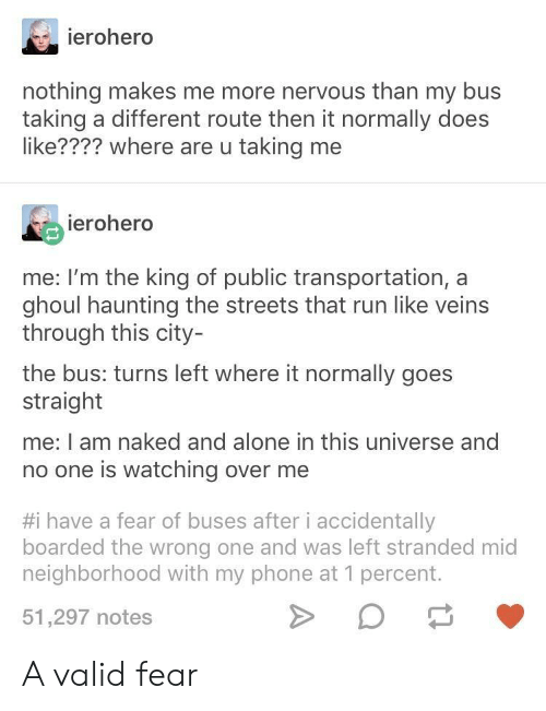Being Alone, Phone, and Public Transportation: ierohero  nothing makes me more nervous than my bus  taking a different route then it normally does  like???? where are u taking me  ierohero  me: I'm the king of public transportation, a  ghoul haunting the streets that run like veins  through this city-  the bus: turns left where it normally goes  straight  me: I am naked and alone in this universe and  no one is watching over me  #1 have a fear of buses after i accidentally  boarded the wrong one and was left stranded mid  neighborhood with my phone at 1 percent.  51,297 notes A valid fear