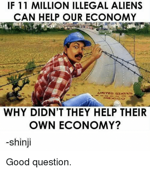 Memes, Aliens, and Good: IF 11 MILLION ILLEGAL ALIENS  CAN HELP OUR ECONOMY  WHY DIDN'T THEY HELP THEIR  OWN ECONOMY?  -shinji Good question.
