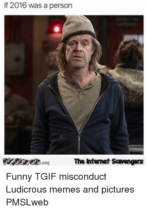 Funny, Memes, and Tgif: If 2016 was a person  The htemet Scavengers <p>Funny TGIF misconduct  Ludicrous memes and pictures  PMSLweb </p>