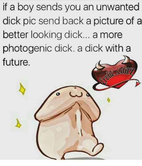 Dick Pics, Memes, and A Picture: if a boy sends you an unwanted  dick pic send back a picture of a  better looking dick... a more  photogenic dick. a dick with a  future