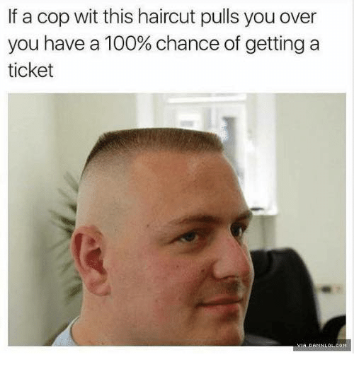 Anaconda, Haircut, and Cop: If a cop wit this haircut pulls you over  you have a 100% chance of getting a  ticket
