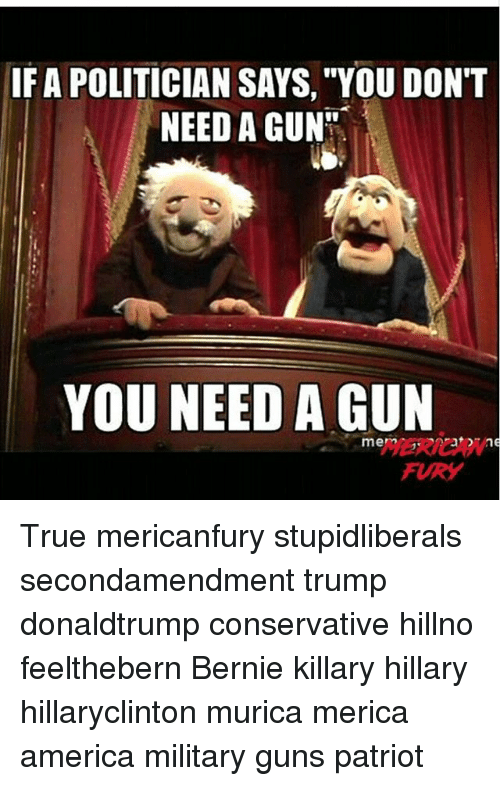"America, Guns, and Memes: IF A POLITICIAN SAYS, ""YOU DON'T  NEED A GUN  YOU NEED A GUN  mem  FURY True mericanfury stupidliberals secondamendment trump donaldtrump conservative hillno feelthebern Bernie killary hillary hillaryclinton murica merica america military guns patriot"